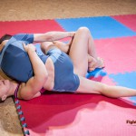 Male on top during mixed wrestling