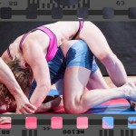 Competitive mixed wrestling match between Scorpion and Marek