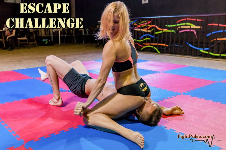 Reverse schoolgirl pin immobilization by Chrissy Fox - escape challenge mixed wrestling video